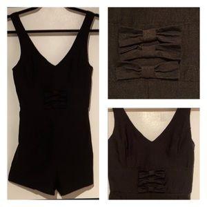 3 Bows Romper-Fitted Black Stretch: M-fits S